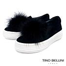 Tino Bellini雲朵般飄逸毛球全真皮懶人鞋_黑