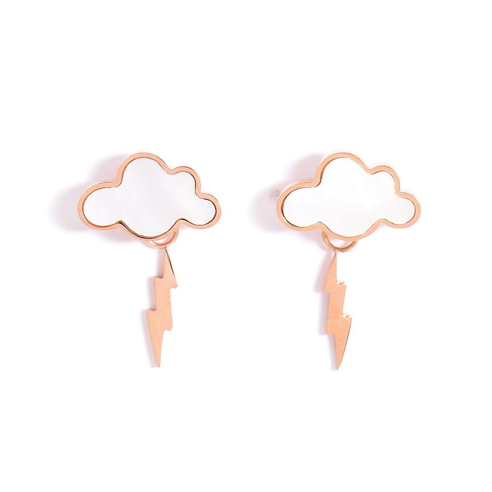 微醺禮物 正韓 低過敏 鋼針 鋼飾 仿貝烏雲 垂墜小閃電 耳針 耳環