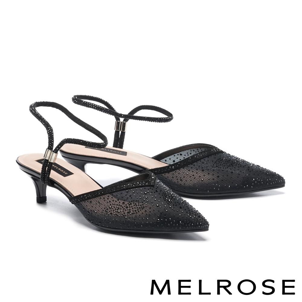 低跟鞋 MELROSE 時髦閃耀晶鑽透膚網紗尖頭低跟鞋-黑