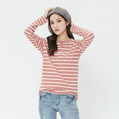 Hang Ten - 女裝 - 經典條紋T恤-粉紅色