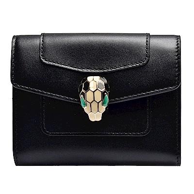 BVLGARI 經典小牛皮琺瑯蛇頭釦環撞色風琴式信用卡夾(黑X祖母綠色)