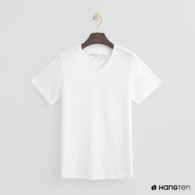 Hang Ten - 女裝 - 有機棉-簡約純色小V領T桖 - 白