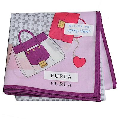 FURLA 經典包包圖騰品牌字母LOGO圖騰帕領巾(粉紫)