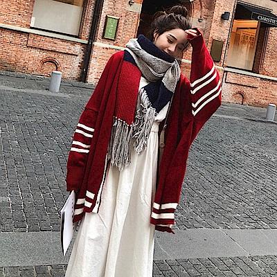 La BellezaV領羅紋白色滾邊袖條紋配色排釦針織外套