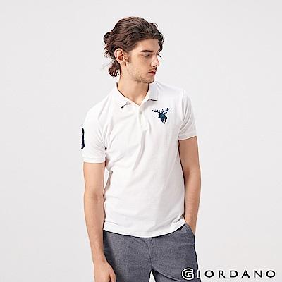 GIORDANO 男裝麋鹿漸層刺繡短袖POLO衫-01 標誌白