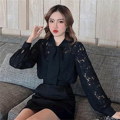 DABI 韓國風名媛襯衫系帶拼接蕾絲衫氣質襯衫長袖上衣