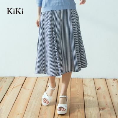 【KiKi】氣質條紋修身-長裙(二色)