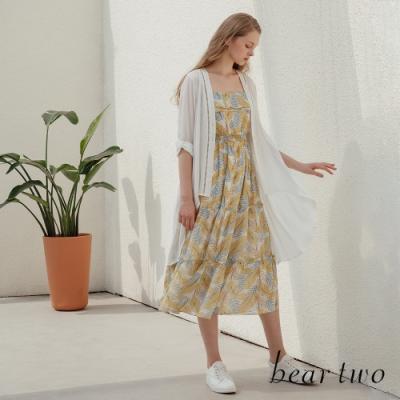 beartwo- 夏日風情花繪細肩帶洋裝-淺黃