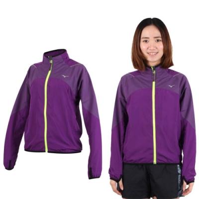 MIZUNO 女立領路跑風衣外套-防風 慢跑 美津濃 深紫螢光黃