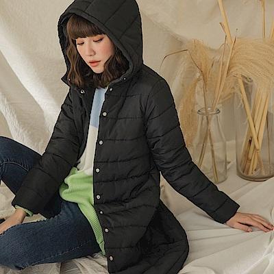 純色簡約修身長版連帽鋪棉外套-OB大尺碼