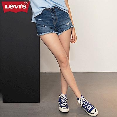 Levis 女款 牛仔短褲 不收邊破壞 褲頭 後口袋裁剪設計 義大利丹寧