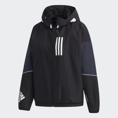 adidas 連帽外套 運動 風衣外套  女款 黑 GF0142 adidas W.N.D.
