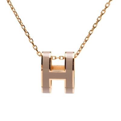 HERMES 經典Pop H立體簍空橢圓LOGO項鍊(栗子灰X玫瑰金)