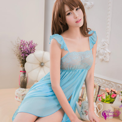 Sexy Cynthia性感睡衣藍色柔紗雙層開襟二件式睡衣-淺藍F