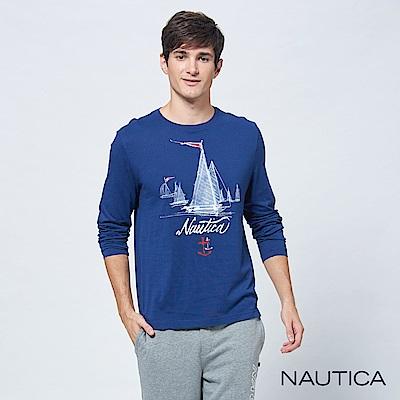 Nautica未來感帆船純棉長袖TEE-藍色