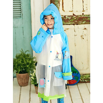 半島良品 韓國動物充氣帽兒童雨衣雨鞋-藍色小象L