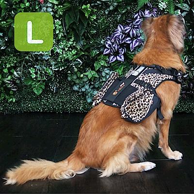 Crazypaws瘋狂爪子 時尚豹紋護胸L號-寵物外出兩件式胸背帶/護胸