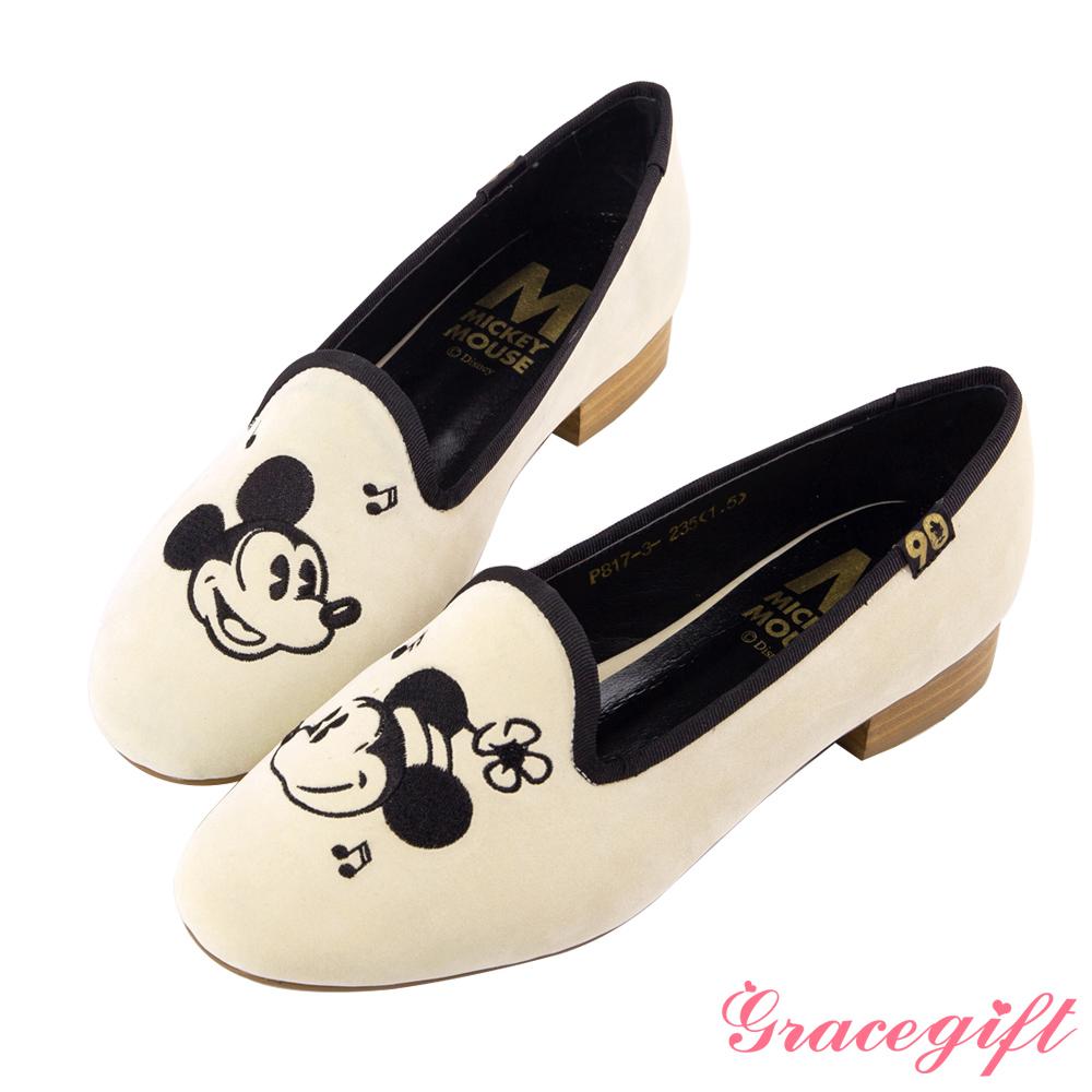 Disney collection by grace gift經典年代復古樂福鞋 米白