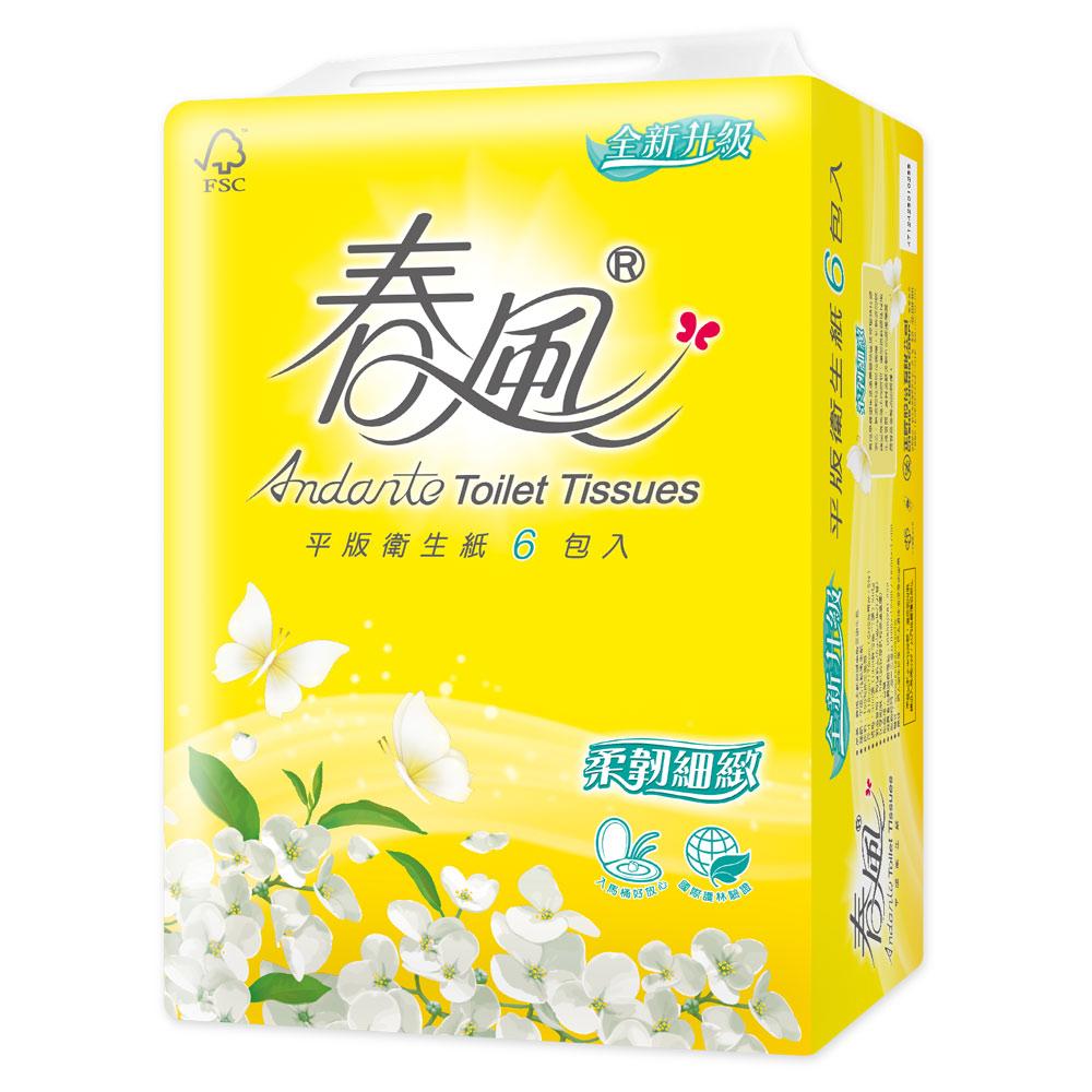 春風平版衛生紙-柔韌細緻 300張X6包/串