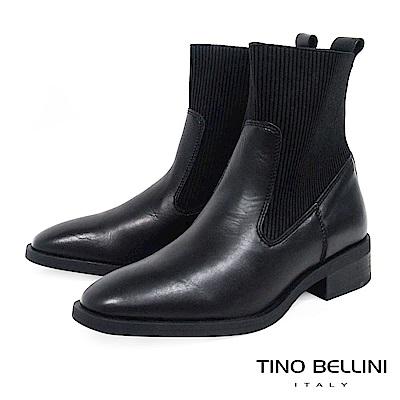 Tino Bellini 義大利進口結構拼接牛皮MIX彈力布低跟短靴 _ 黑
