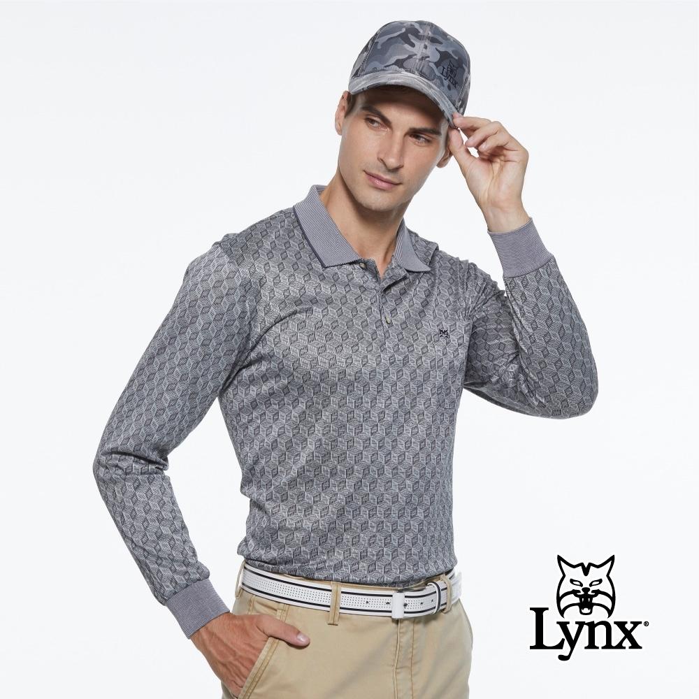 【Lynx Golf】男款歐洲進口布料純棉絲光菱格紋胸袋款長袖POLO衫-灰色