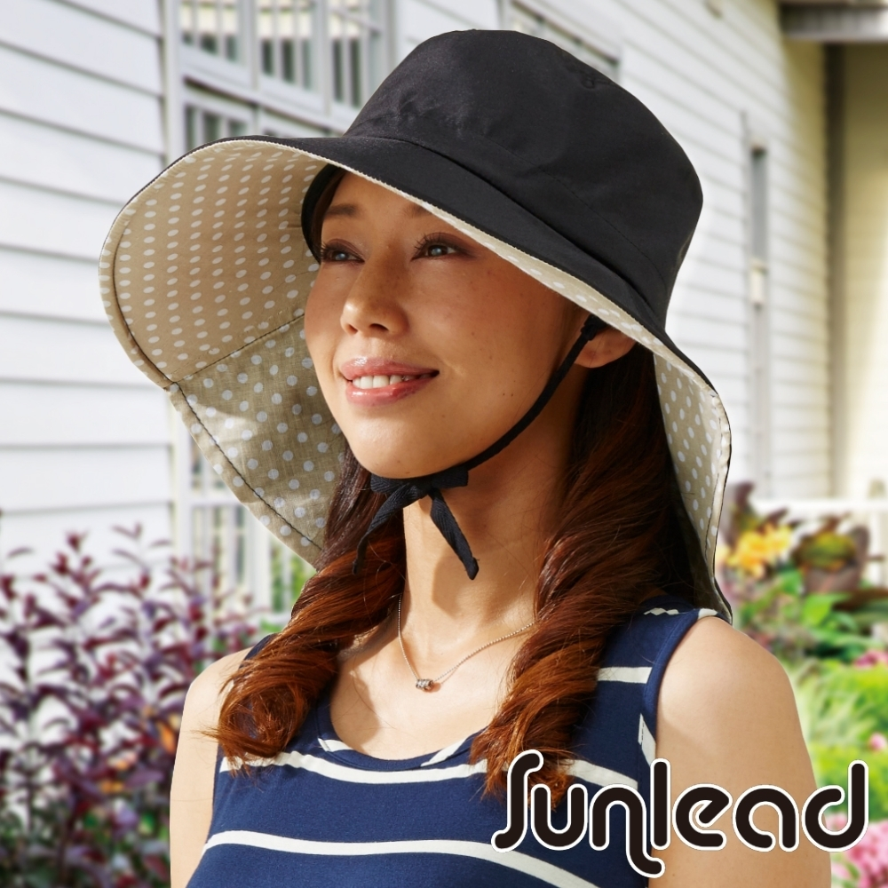 Sunlead 防吹落寬緣款。雙色護頸透氣抗UV寬圓頂防曬遮陽帽 (黑色/淺褐)