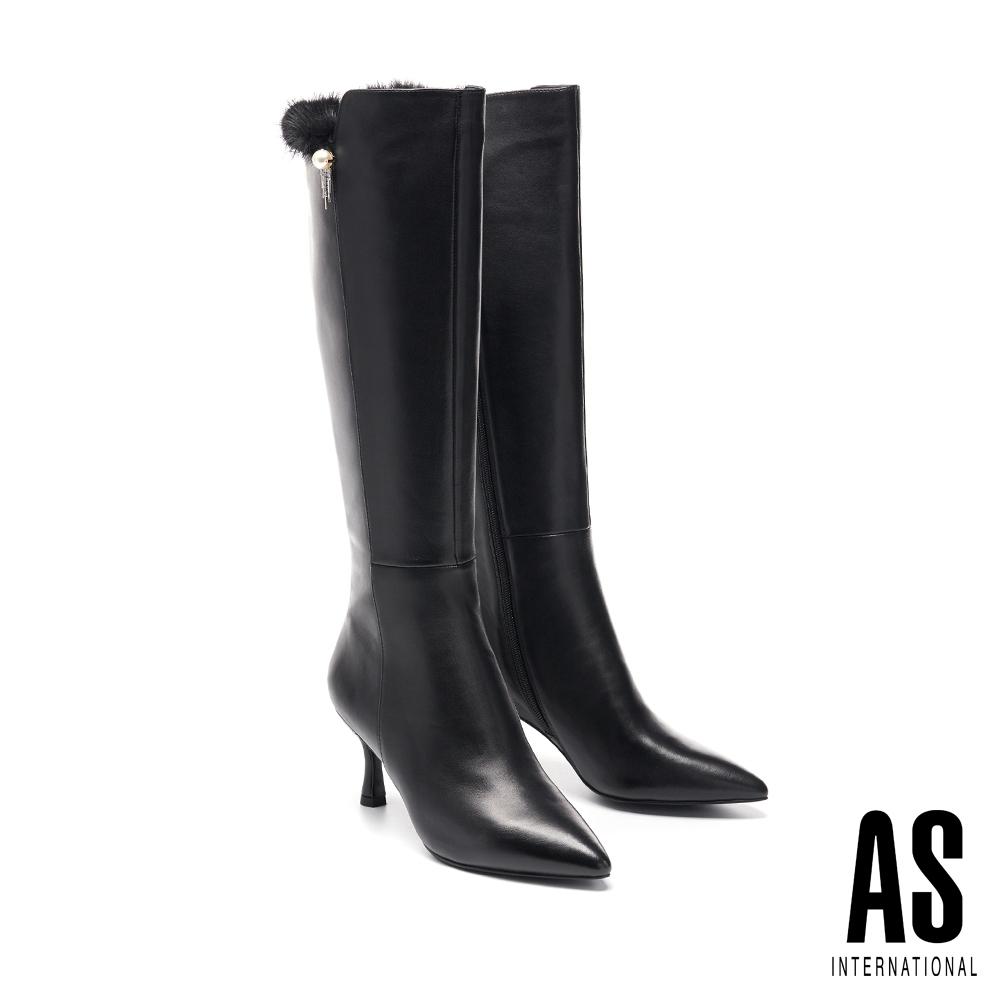 長靴 AS 高尚雅致珍珠鑽飾水貂毛羊皮尖頭高跟長靴-黑