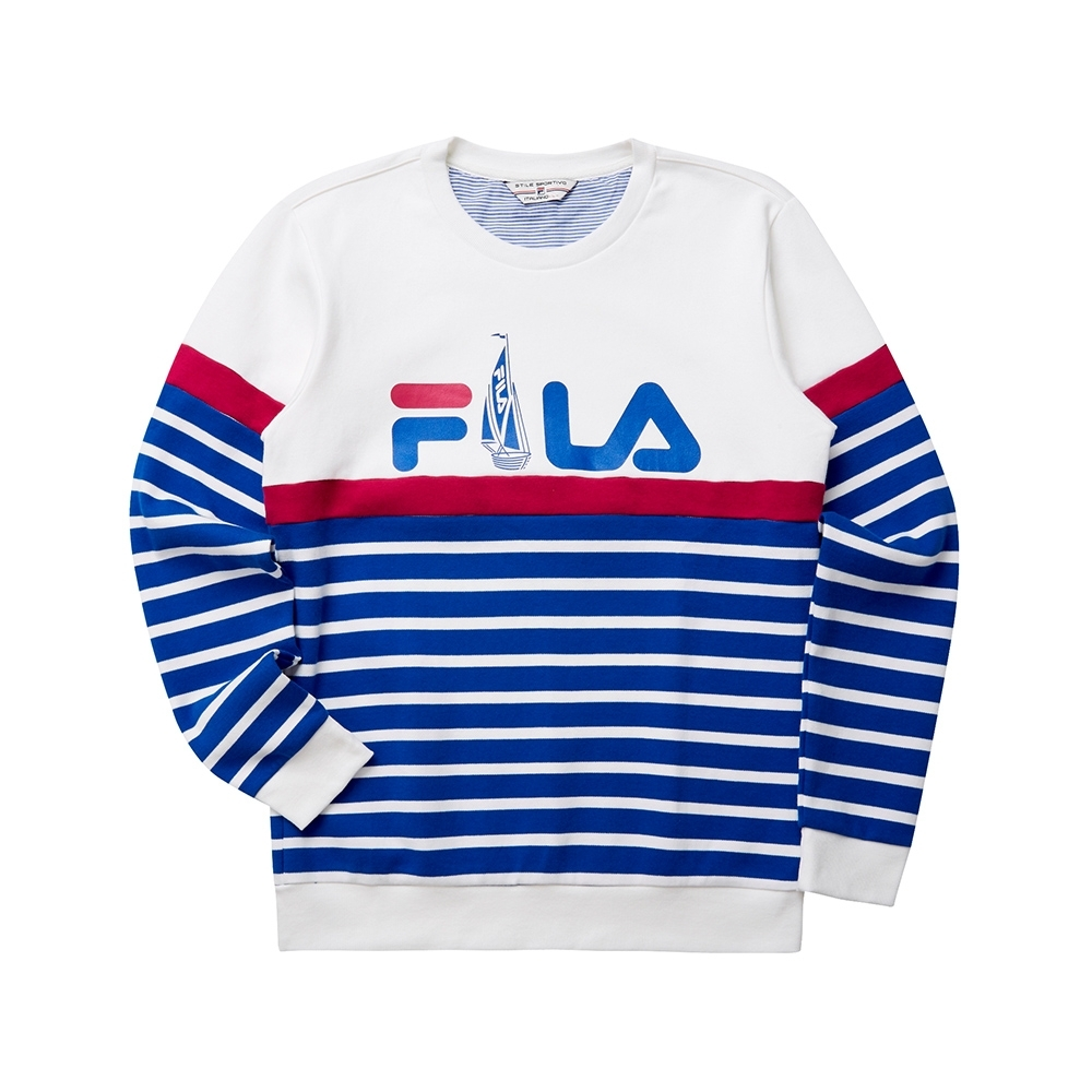 FILA 男圓領長袖T恤-白色 1TET-5701-WT