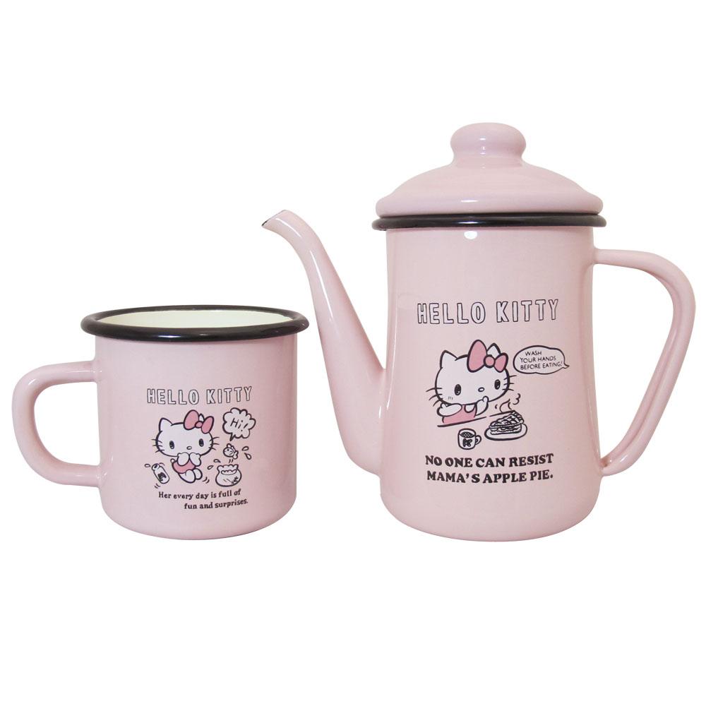 Hello Kitty琺瑯手沖壺組