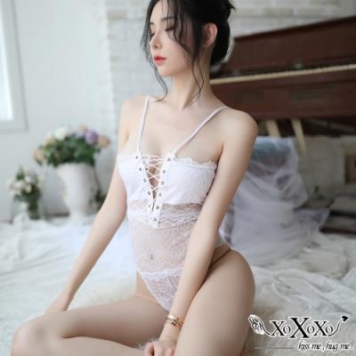 情趣睡衣 浪漫小女人蕾絲綁帶連身衣 純潔白 XOXOXO