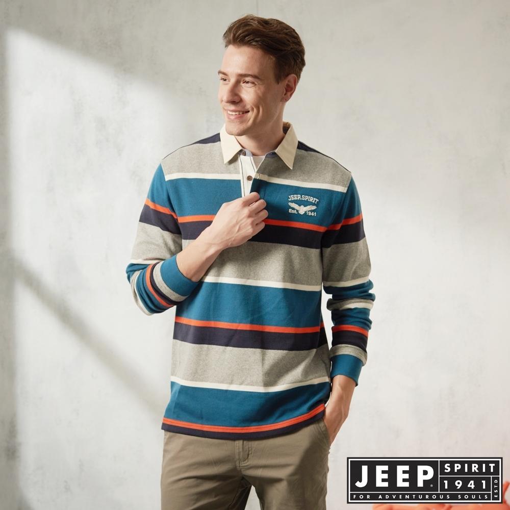JEEP 經典條紋長袖POLO衫 -藍綠色