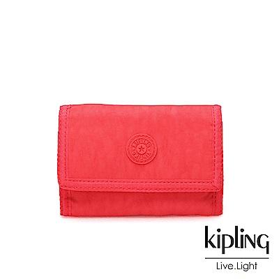 Kipling 亮橘色素面多夾層短夾-MICKYLINA