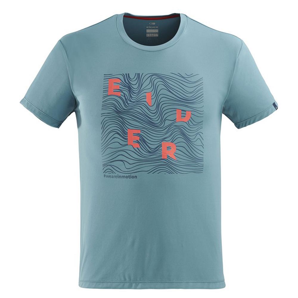 法國【EiDER】 男排汗透氣短袖印花圓領衫迷霧藍