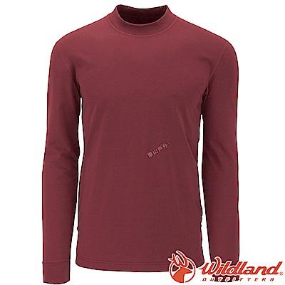 Wildland 荒野 W2652-07酒紅 男遠紅外線保暖中領衛生衣