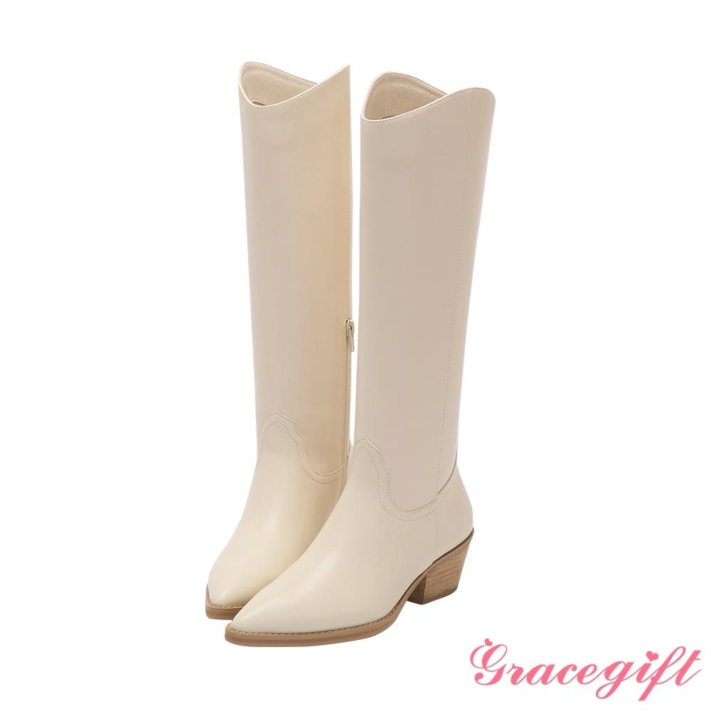 Grace gift X唐葳-聯名尖頭西部中跟長靴 米白