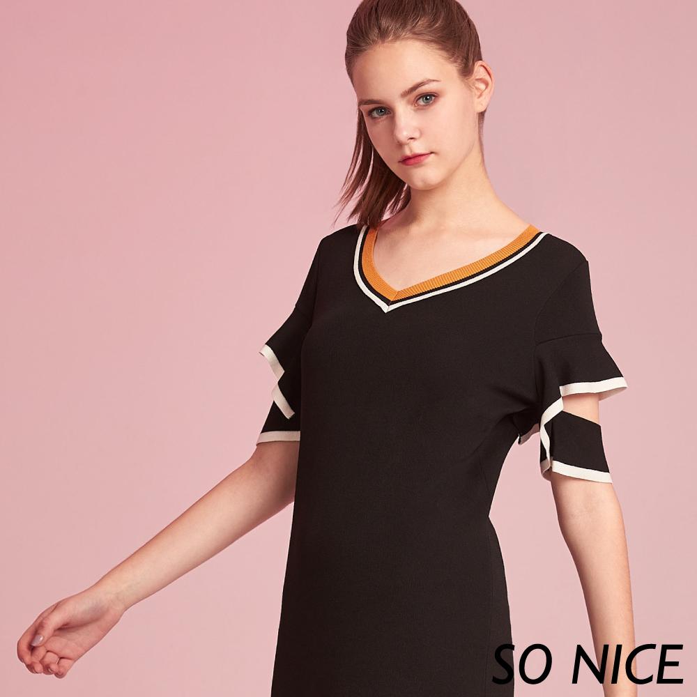 SO NICE俏麗荷葉造型袖針織洋裝
