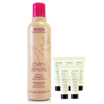 AVEDA 甜馨洗髮精250ml+迷迭薄荷潤髮乳10ml*5(正統公司貨)