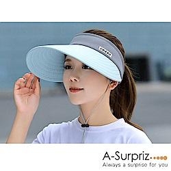 A-Surpriz 柔美雙色拼接空頂遮陽帽(藍+灰)