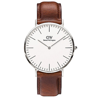 DW手錶 官方旗艦店 40mm銀框 Classic 紅棕真皮皮革手錶