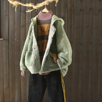 連帽羊羔毛外套寬鬆保暖皮毛一體上衣-設計所在