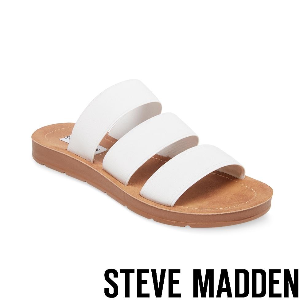 STEVE MADDEN-PASCALE 涼夏束帶平底涼鞋-白色