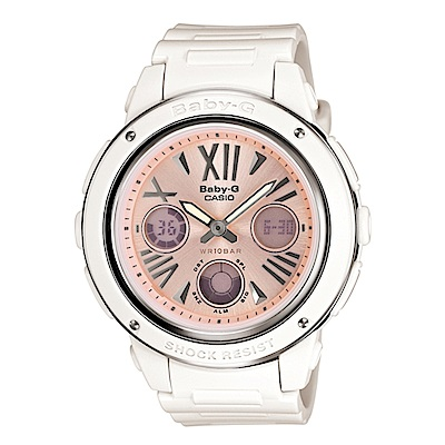 BABY-G 羅馬的甜蜜時光閒錶(BGA-152-7B2)-粉紅面x白色錶帶/42.8mm