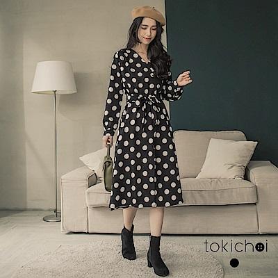 東京著衣 法式復古大圓點綁帶腰身洋裝-S.M(共一色)