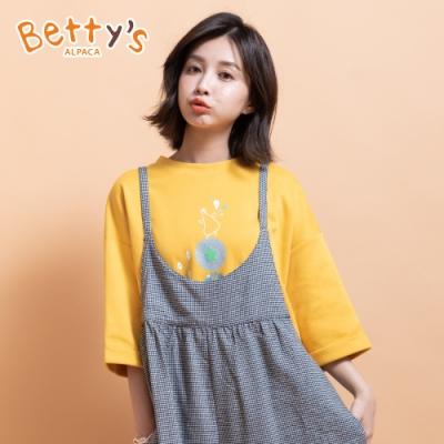 betty's貝蒂思 圓領短袖小貝羊印花T-shirt(深黃)