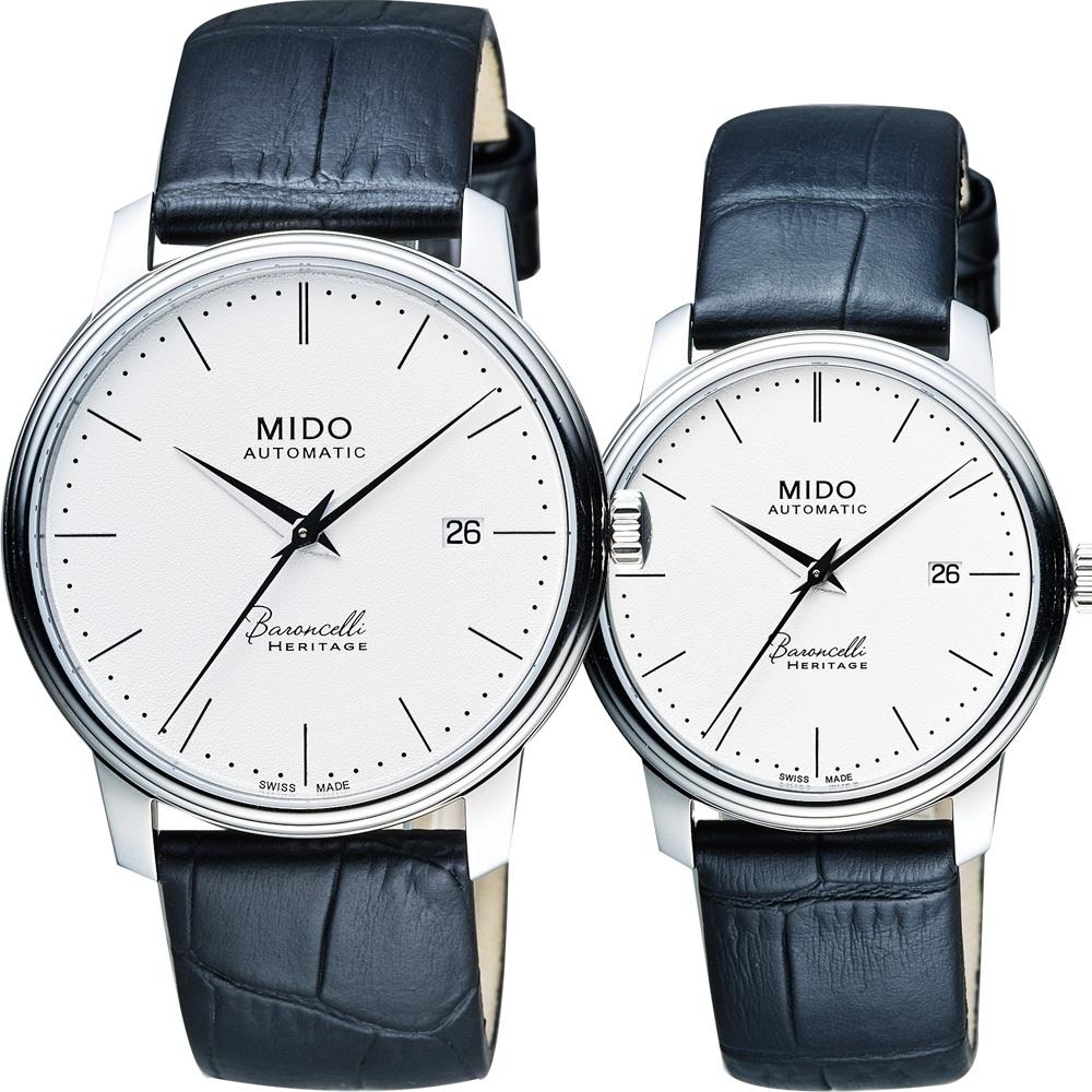 MIDO Baroncelli III Heritage 復刻經典機械對錶-41+32mm M0274071601000+M0272071601000