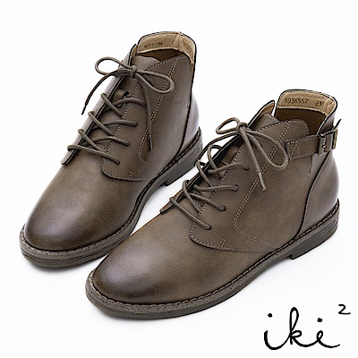 iki2 擦色綁帶V口側方釦短靴-豆青