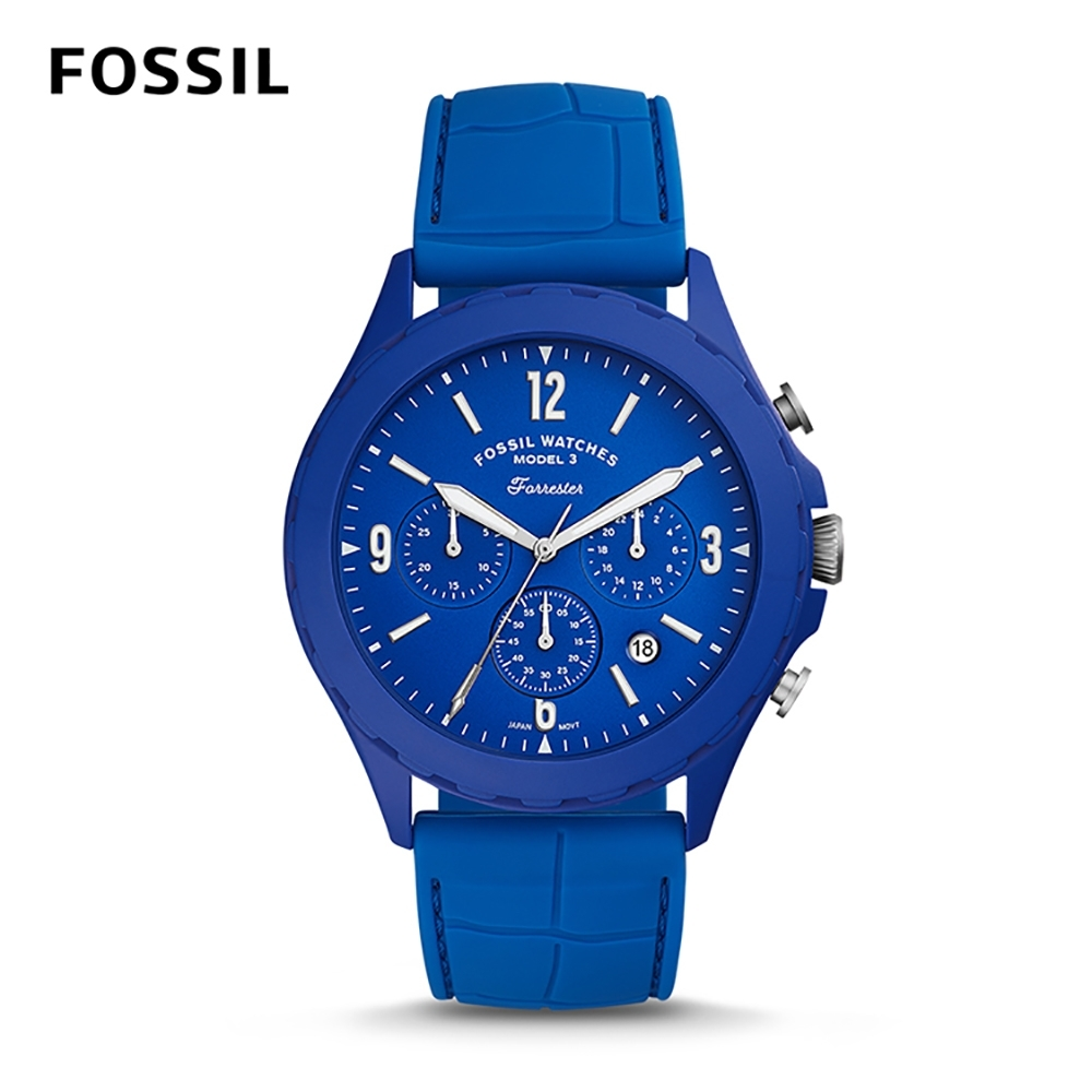 FOSSIL LIMITED EDITION-ME陽光新潮石英計時男錶-炫藍 46MM LE1098