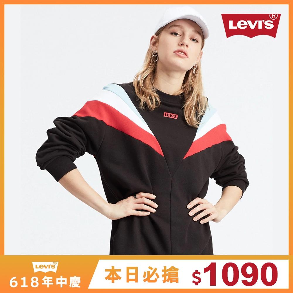Levis 女款 大學T洋裝 撞色拼接 迷你Box Logo
