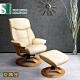 Sun Pin_Perceval帕西瓦爾伯爵半牛皮躺椅+腳凳-杏色 W77.5*D82~106*H97~105 product thumbnail 1
