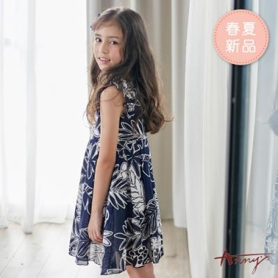 Annys安妮公主-滿版植物花卉春夏款荷葉無袖洋裝*9139藍色